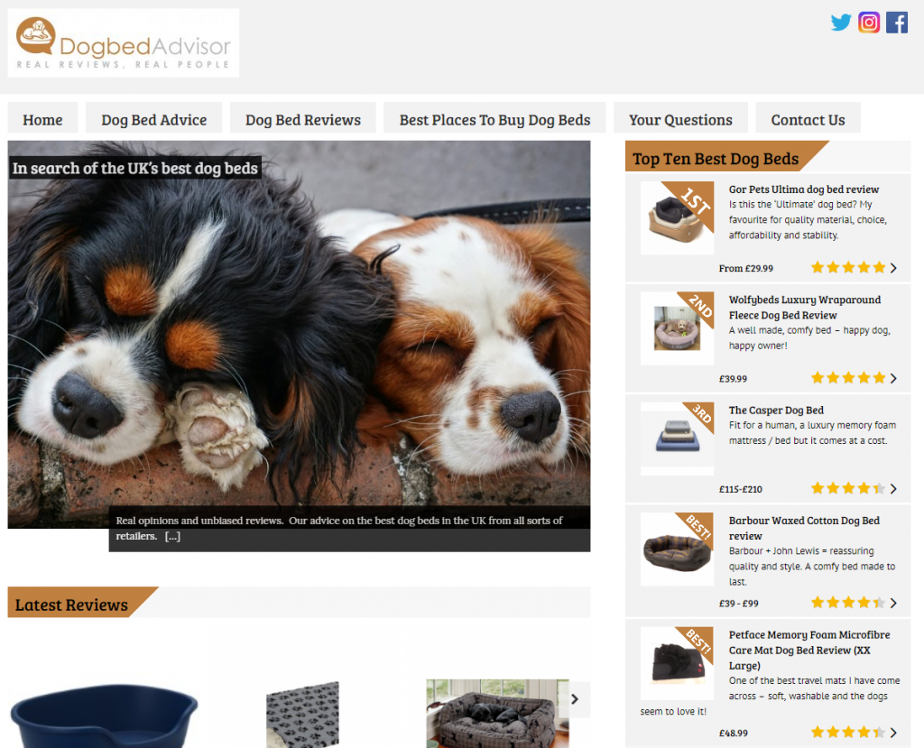 Dog-bed-Advisor - sister site for Duvet Advisor