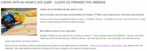 Pillow Advisor Article Coping with Clocks Forward